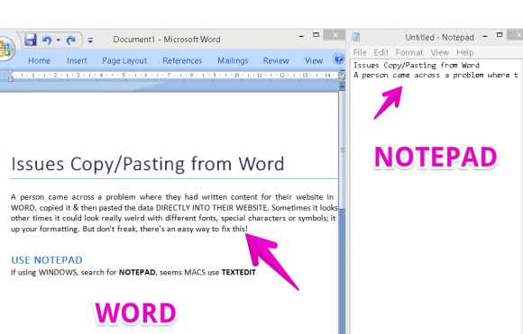 Copy from Word to Notepad