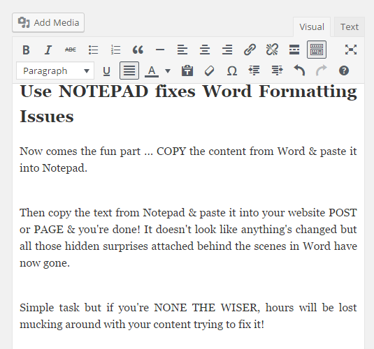 Notepad fixes Word Formatting