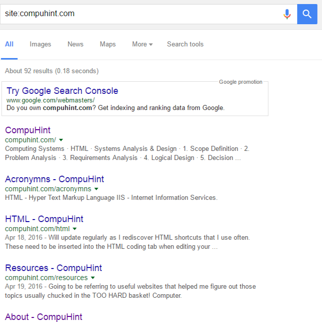 CompuHint.com indexed by Google